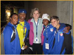 Dana Ranahan with Team Haiti national women's soccer players.